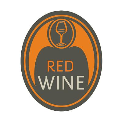 Badge -Red wine, oval