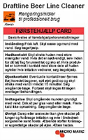First help card -Draftbeer cleaner, DK